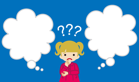 Toddler girl who has doubt something with two blank thought bubbles  イラスト・ベクター素材