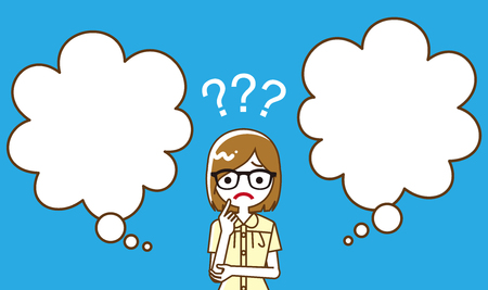 Female university student who has doubt something with two blank thought bubbles, line art  イラスト・ベクター素材
