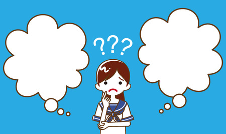 Japanese female high school student  who has doubt something with two blank thought bubbles, line art  イラスト・ベクター素材