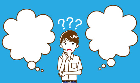 Japanese male high school student who has doubt something with two blank thought bubbles, line art  イラスト・ベクター素材