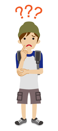 Male university student who has doubt something with three question marks -full length Illustration