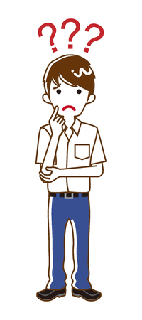 Japanese male high school student who has doubt something with three question marks -full length, line art 写真素材 - 119649822