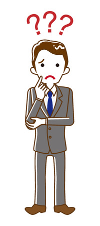 Businessman who has doubt something with three question marks -full length, line art