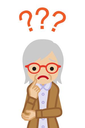 Senior woman who has doubt something with three question marks -waist up Ilustração Vetorial