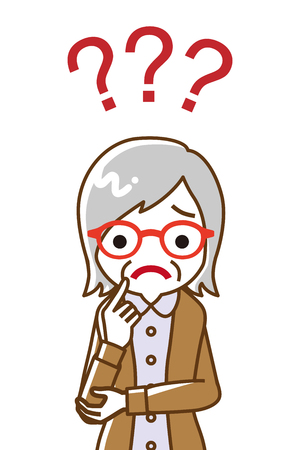 Senior woman who has doubt something with three question marks -waist up, line art  イラスト・ベクター素材