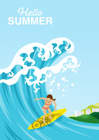 """Female surfer rides on a big wave in summer ocean - Included words """"Hello Summer"""