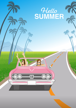 """Two young women enjoying summer drive by the pink convertible in roadway - Included words """"Hello Summer Çizim"""