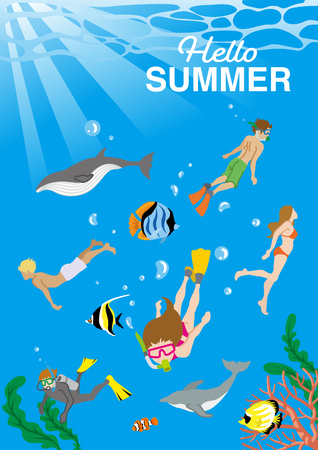 """People enjoying scuba diving in undersea with Marine life - Included words """"Hello Summer"""