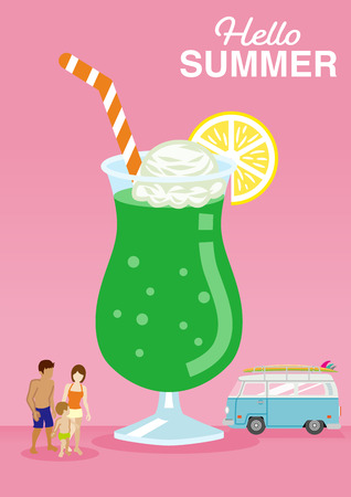 """Symbolic summer vacation image, Cute ice cream float juice and Family who wear swimwear, Minivan car - Included words """"Hello Summer"""