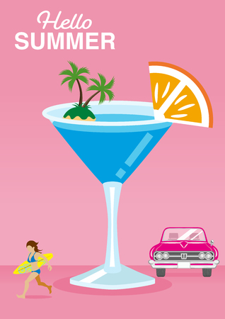 "Symbolic summer vacation image, Cute cocktail and Bikini woman who holding surfboard, Convertible - Included words ""Hello Summer"