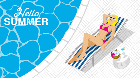 "Bikini woman lying down on the chaise chair in resort pool, top view - Included words ""Hello Summer"