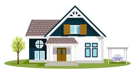Exterior of the residential house, front view - retro style Stock Illustratie