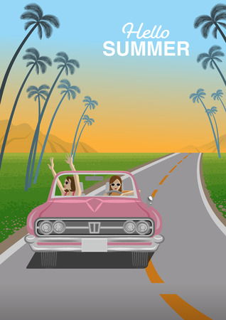 "Two young women enjoying summer drive by the pink convertible in roadway at sunset - Included words ""Hello Summer Иллюстрация"