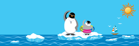 Penguin family exercising before the sea bathing, Banner ratio  イラスト・ベクター素材