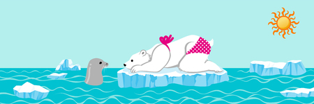 Female polar bear and seal talking in the summer arctic sea ,Banner ratio Ilustração