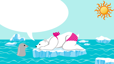 Female polar bear and seal talking in the summer arctic sea
