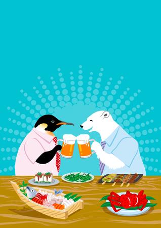 Polar bear and penguin drinking beer in the Japanese pub Ilustração