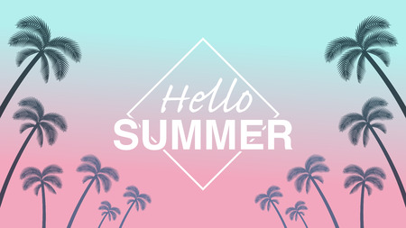 "Palm tree silhouette frame in sunset background - Included words ""Hello Summer,pinkish color"