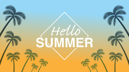 "Palm tree silhouette frame in sunset background - Included words ""Hello Summer"