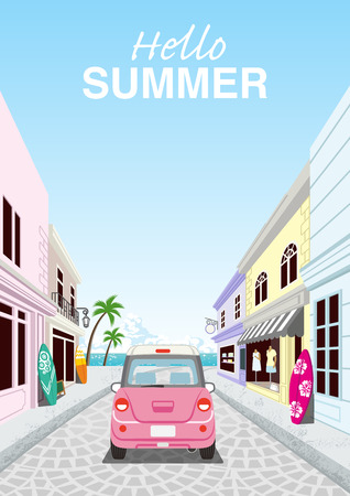 """Driving retro pink car in the Seaside street - Included words """"Hello Summer"""" ,rear view"""
