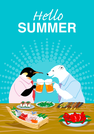 """Polar bear and penguin drinking beer in the Japanese pub - Included words """"Hello Summer"""