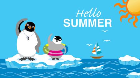 "Penguin family exercising before the sea bathing - Included words ""Hello Summer Ilustração"