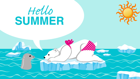 """Female polar bear and seal talking in the summer arctic sea - Included words """"Hello Summer"""