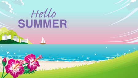 "Summer beach at sunset - Included words ""Hello Summer"
