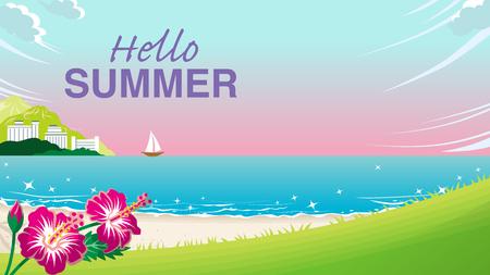 "Summer beach at sunset - Included words ""Hello Summer Ilustração"