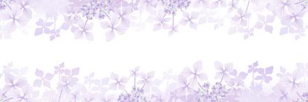 Hydrangea flower frame background - Banner ratio, purple color