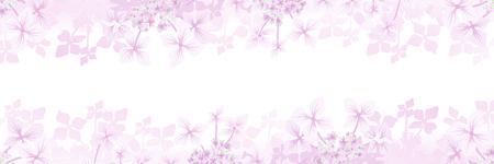 Hydrangea flower frame background - Banner ratio, pink color