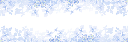 Hydrangea flower frame background - Banner ratio, blue color Ilustração