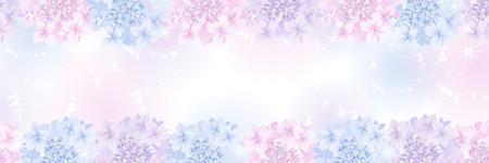 Hydrangea flower head frame in the gradation background - Banner ratio