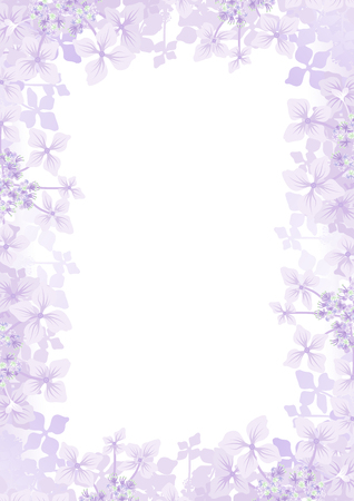 Hydrangea flower frame background -Vertical, Purple color