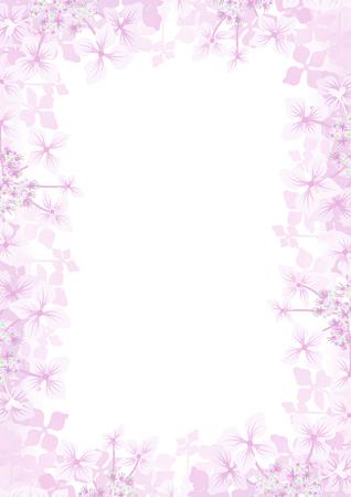 Hydrangea flower frame background -Vertical, pink color