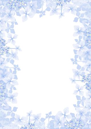 Hydrangea flower frame background -Vertical, blue color