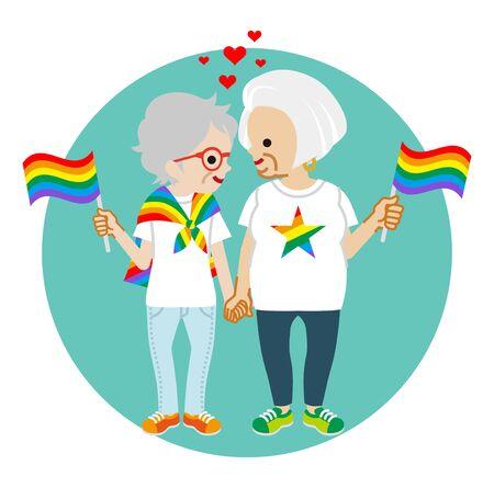 Senior lesbian couple holding rainbow flags - LGBT parade concept image clipart
