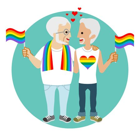 Senior gay couple holding rainbow flags - LGBT parade concept image clipart