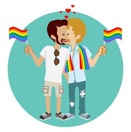 Kissing young gay couple holding rainbow flags - LGBT parade concept image clipart
