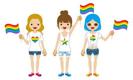Three young girls holding rainbow flags - LGBT parade concept clipart Ilustração