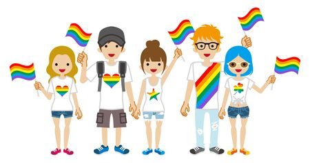 Young adults group holding rainbow flags - LGBT parade concept art