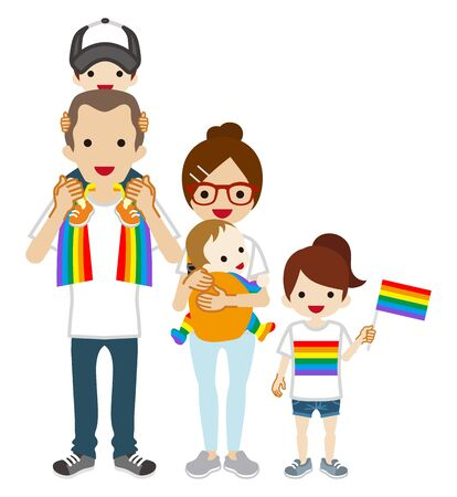 Young family wearing rainbow goods fashion - LGBT parade concept art