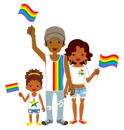 Young african family holding rainbow flags - LGBT parade concept art