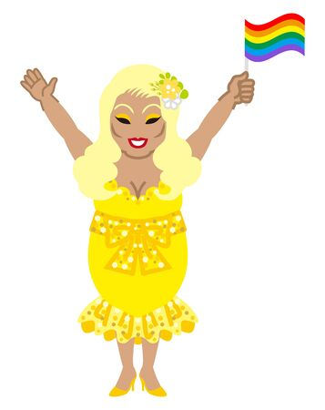 Drag queen who wearing yellow color dress holding a rainbow flag