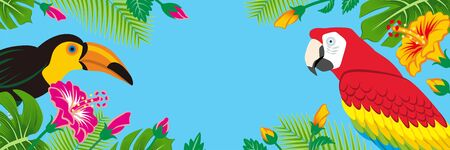 Tropical birds and plants frame - Copy space, Banner ratio, Sky blue background