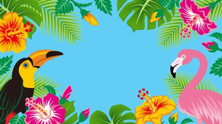 Tropical birds and plants frame - Copy space, Sky blue background