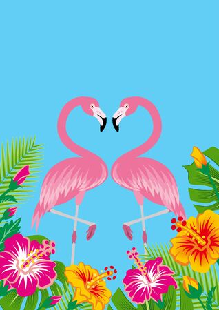 Two flamingos and tropical plants - Copy space, Sky blue background
