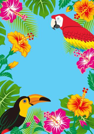 Tropical birds and plants frame - Copy space, Sky blue background, Vertical  イラスト・ベクター素材