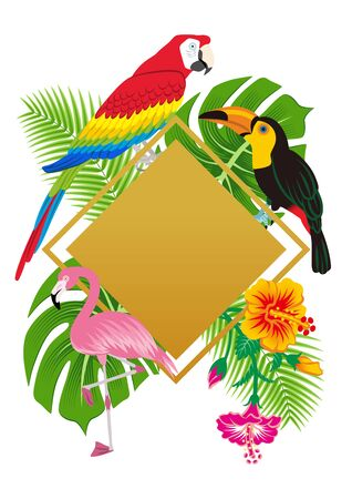 Tropical birds and plants frame- Copy space  イラスト・ベクター素材