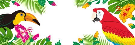 Tropical birds and plants frame - Copy space, Banner ratio, White background  イラスト・ベクター素材